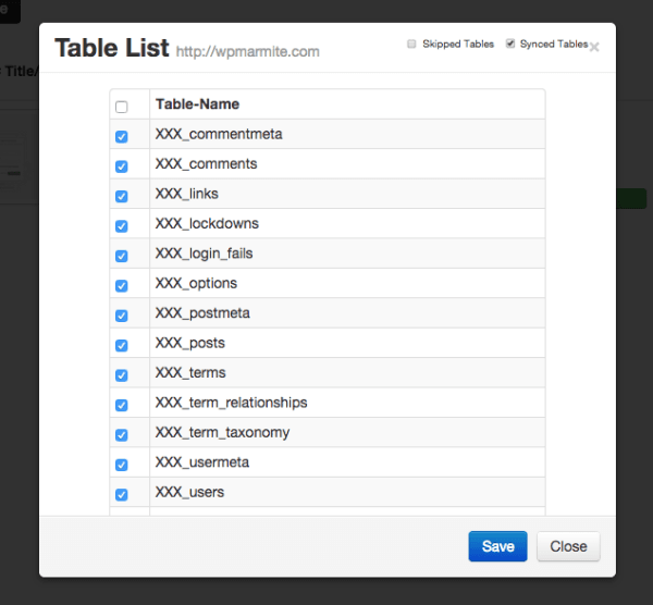 Liste des tables de WordPress