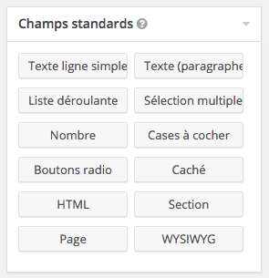 Champs standards de Gravity Forms