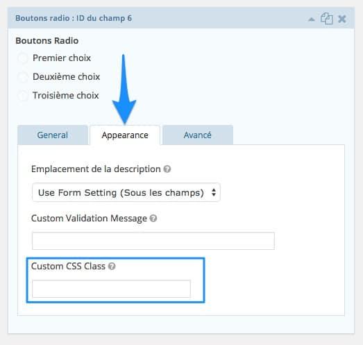 Trouver la custom CSS class dans Gravity Forms
