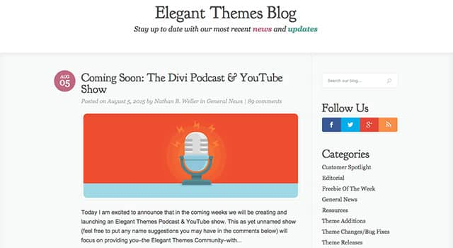 Le blog d'Elegant Themes