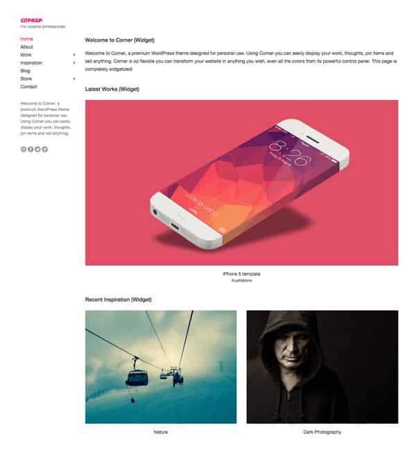 Le thème WordPress Corner pour créer des portfolios