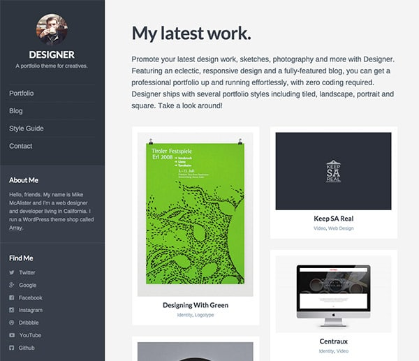 Designer, un thème portfolio de la boutique Array