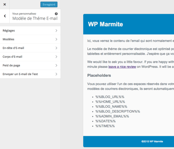 Personnalisation de Email Templates