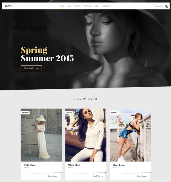 Le template WordPress boutique Flevr