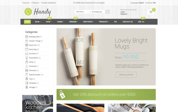 Le template WordPress eCommerce Handy