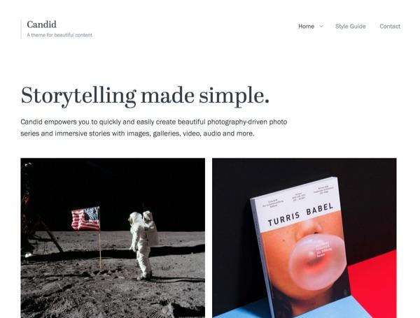 Candid, un thème WordPress pour photographes