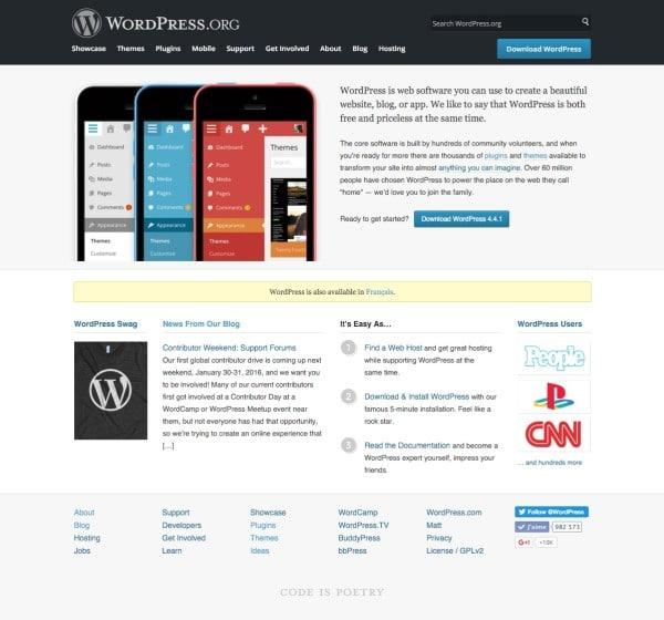 Accueil de WordPress.org
