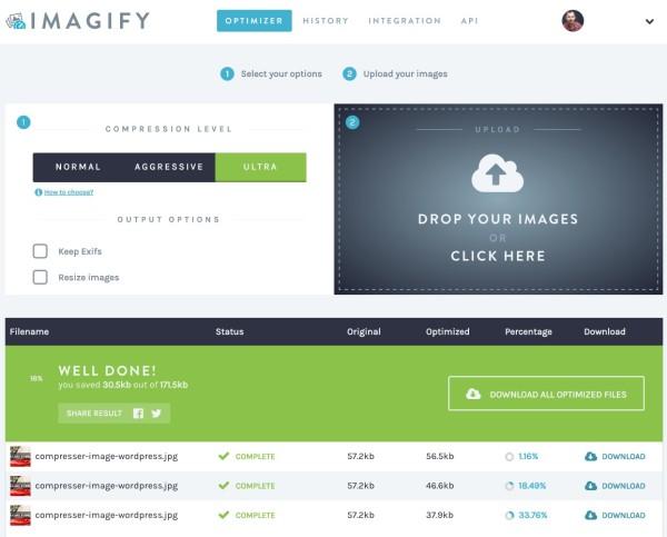 Compression de service Imagify