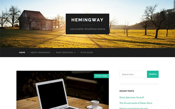 Le template WP gratuit Hemingway