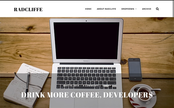 Radcliffe, un template WordPress gratuit