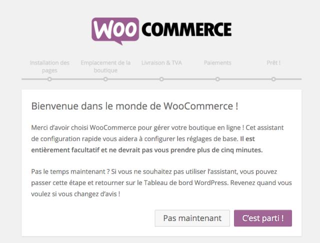 Assistant suite à l'activation de WooCommerce