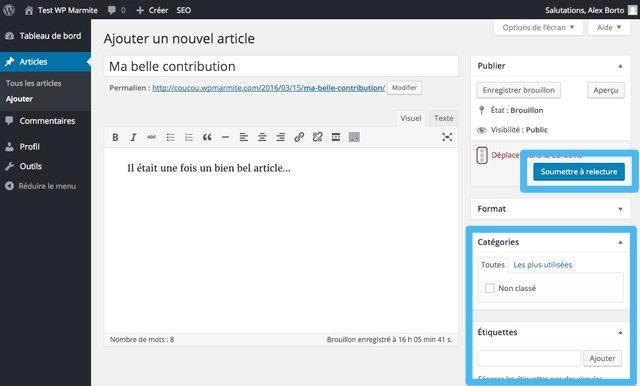 Interface de rédaction d'un article pour un contributeur