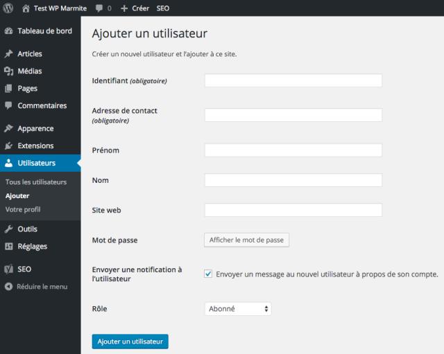 Ajouter un utilisateur dans WordPress