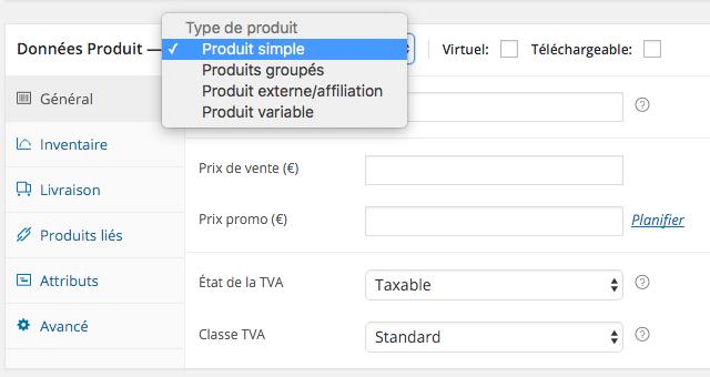 Encart données produit de WooCommerce