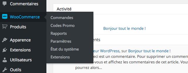 Menu WooCommerce dans WordPress