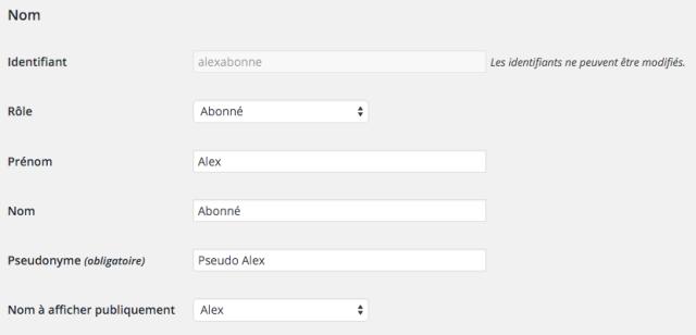 Modifier le nom d'utilisateur dans WordPress