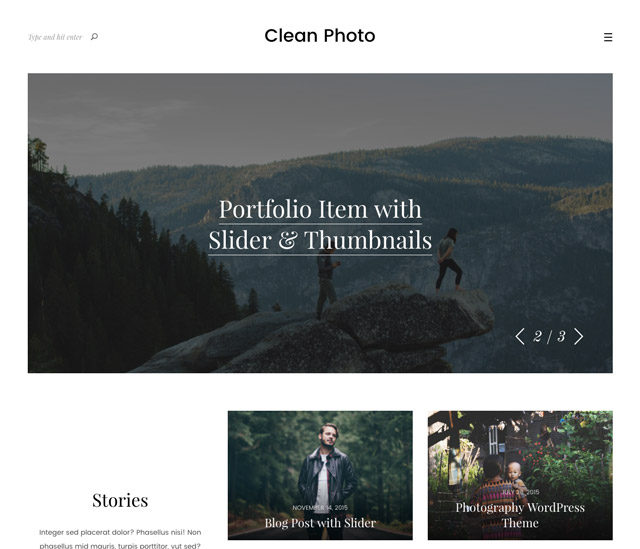 Le template WordPress Clean Photo