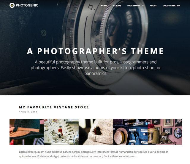 Le thème WordPress Photogenic