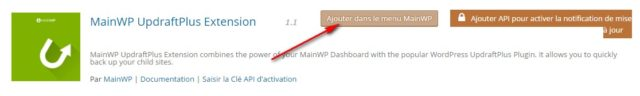 L'extension UpdraftPlus par Mainwp