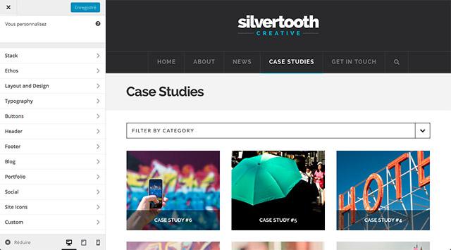 À gauche de l'écran, l'outil de personnalisation de WordPress