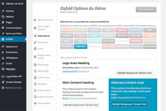 Les options du thème Enfold