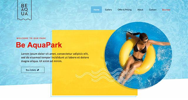 La démo de BeTheme pour les parcs aquatiques