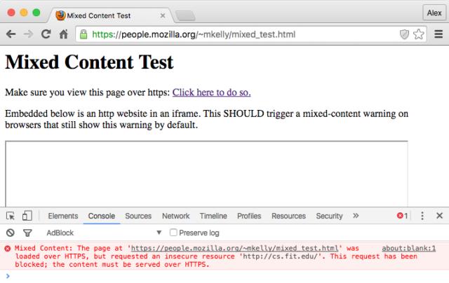 Trouver le contenu mixte sur une page HTTPS