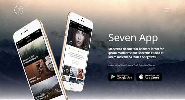La démo «Application Mobile» de The7