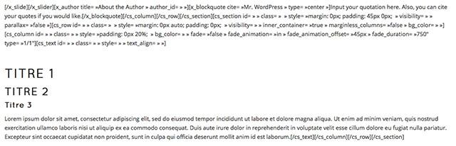 Voilà à quoi ressemble du contenu plein de shortcodes