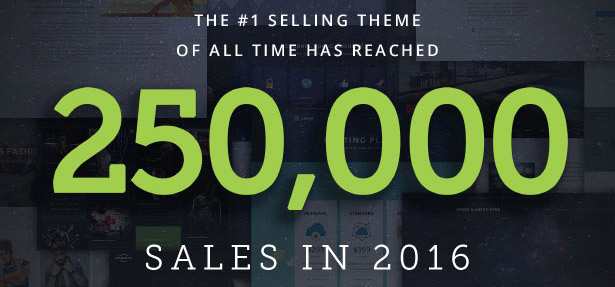 Avada a dépassé les 250000 ventes sur ThemeForest