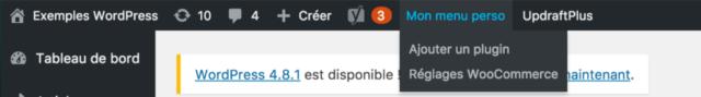 menu perso admin wordpress