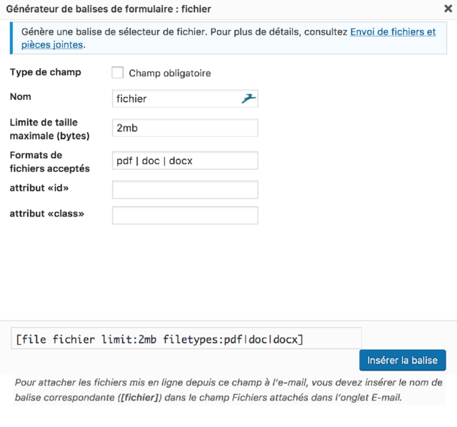 fichier contact form 7