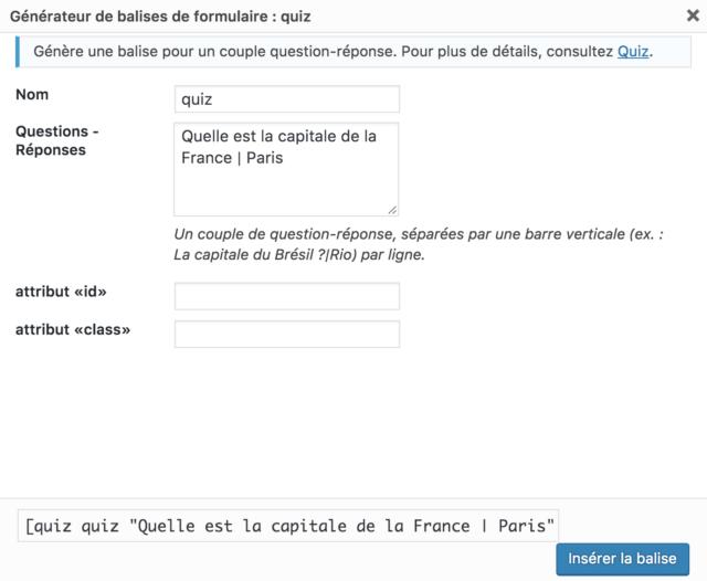 quiz contact form 7