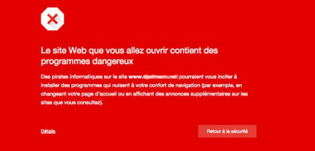 Ecran rouge de Google Chrome