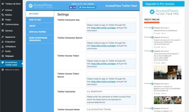 Réglages de l'extension Access Press Twitter Feed