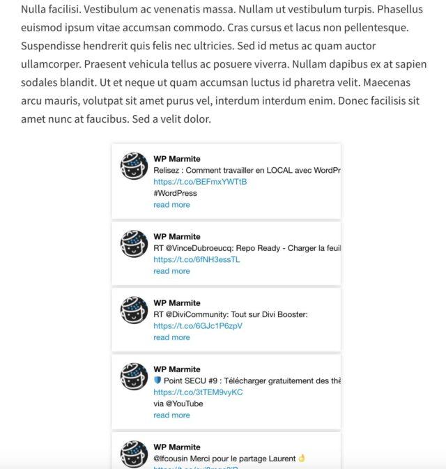 Affichage de l'extension custom twitter feeds dans un article via un shortcode