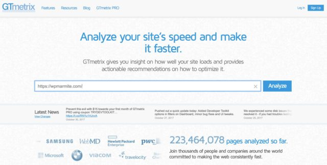 GT Metrix permet de tester la vitesse de son site
