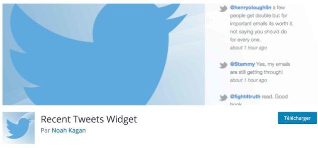 Extension Recent Tweet widget