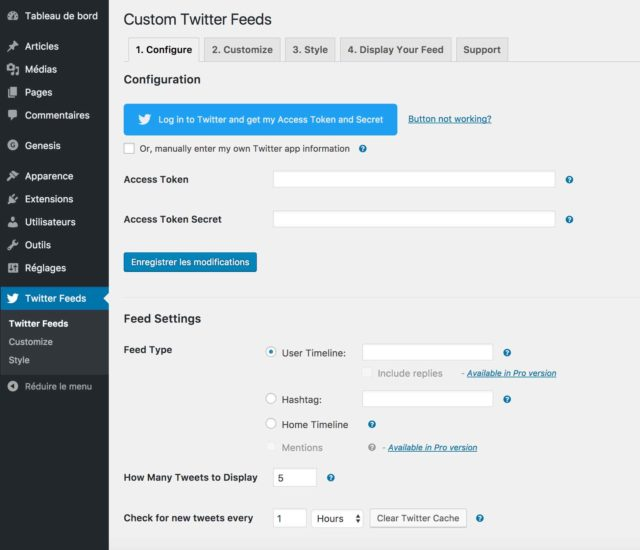 Administration de l'extension Custom Twitted feed