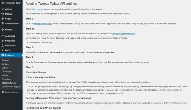 Réglages de l'extension Rotating Tweets