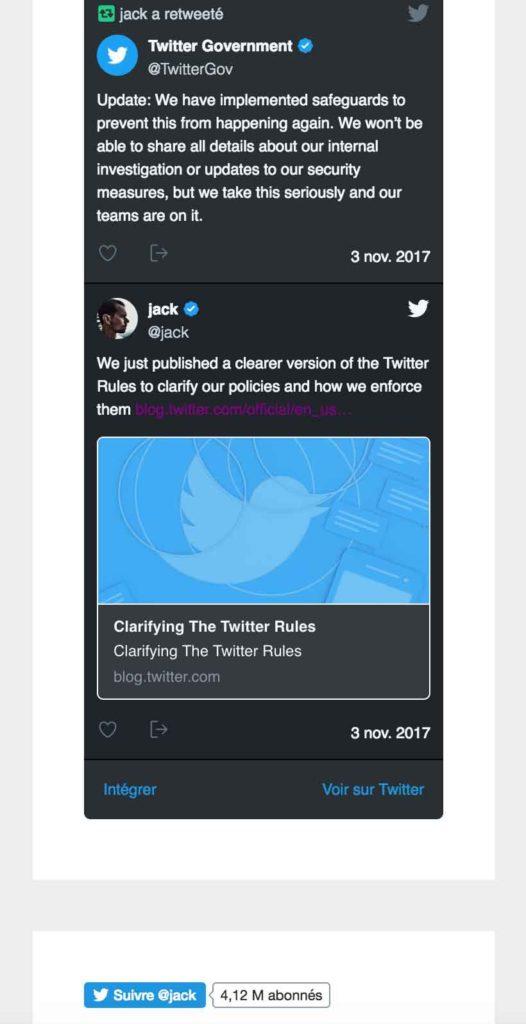 Exemple d'intégration en page du plugin Twitter