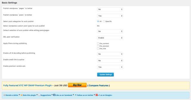 Réglages de l'extension Twitter auto publish