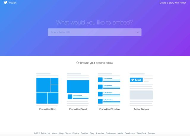 Page pour créer un bouton Twitter