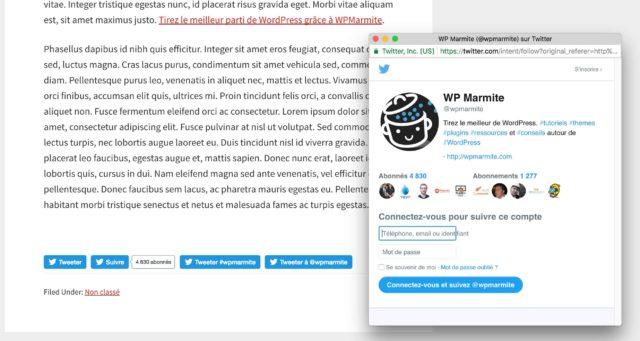 Intégration de l'extension Twitter button dans un article