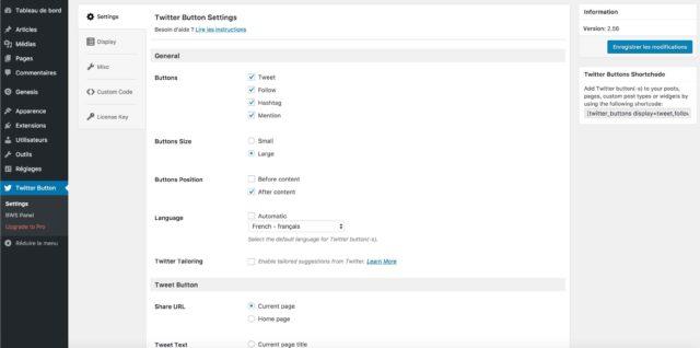 Réglages de l'extension Twitter Button