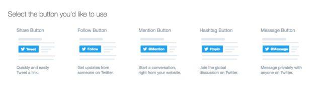 Liste de boutons Twitter à ajouter à WordPress