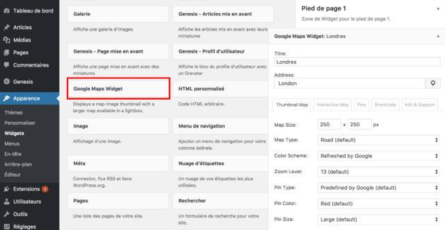 Google Maps widget zone de widgets WordPress