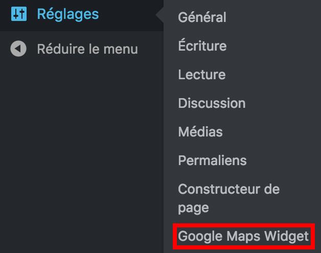 Google Maps widgets réglages