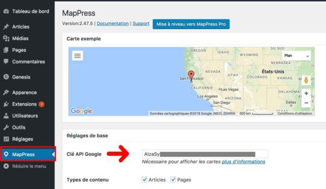 MapPress clé API