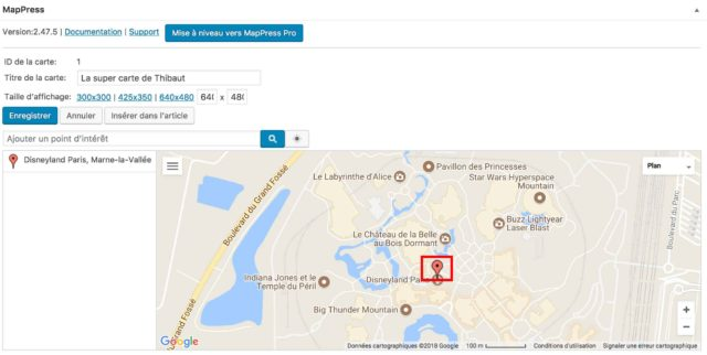 MapPress Easy marqueur